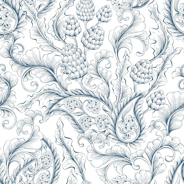 Nahtlose floralen ornament Premium Vektoren