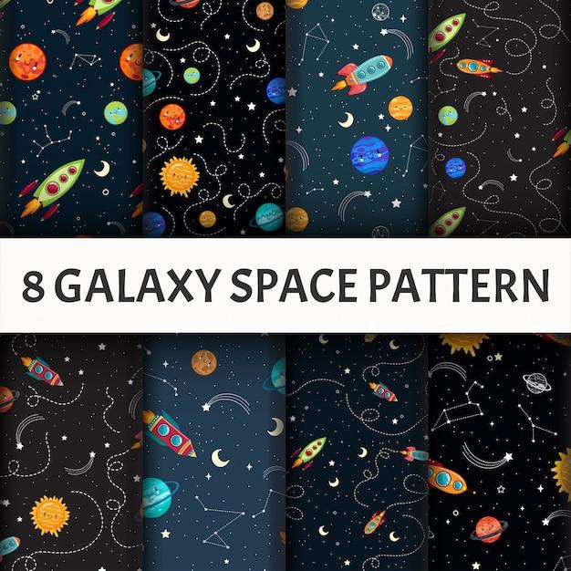 Nahtlose galaxy-mustersatz. Kostenlosen Vektoren