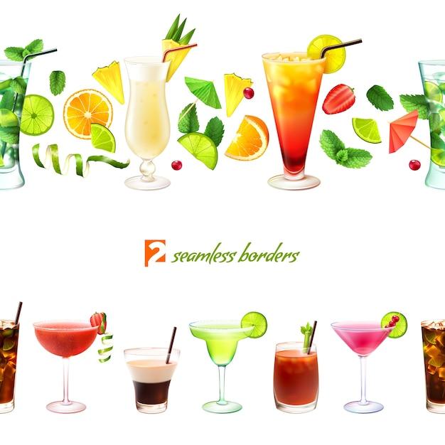 Nahtlose grenze des cocktails Kostenlosen Vektoren