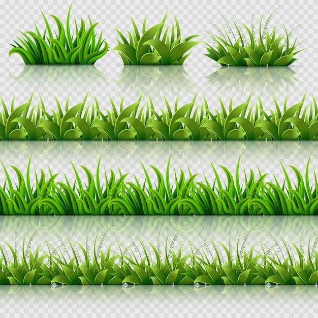 Nahtlose grenzen des vektors des grünen grases eingestellt Premium Vektoren