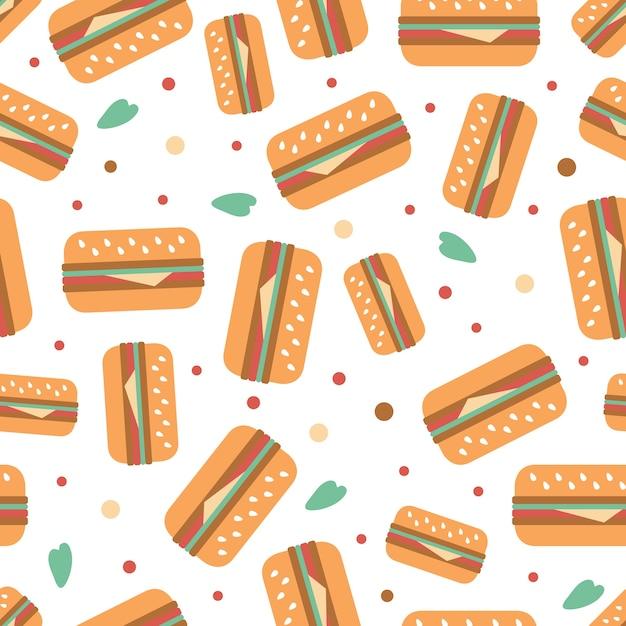 Nahtlose hamburgur mit gold dot glitter muster auf streifen hintergrund Premium Vektoren