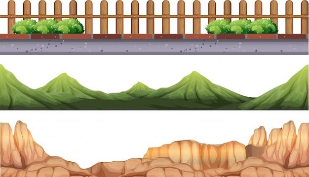 Nahtlose hintergrund mit bergen und zaun Kostenlosen Vektoren