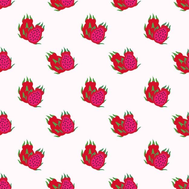 Nahtlose hintergrundbild bunte tropische frucht rotes fleisch drachenfrucht pitaya Premium Vektoren