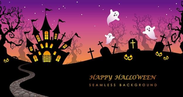 Nahtlose hintergrundillustration des glücklichen halloween mit spukhaus, friedhof und textraum. Kostenlosen Vektoren