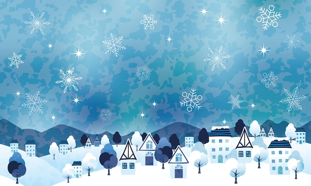 Nahtlose hügelige winterlandschafts-vektorillustration mit einem friedlichen dorf und textraum. horizontal wiederholbar. Kostenlosen Vektoren