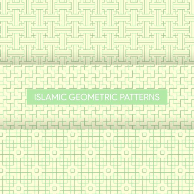 Nahtlose islamische geometrische muster-beschaffenheits-sammlung Premium Vektoren