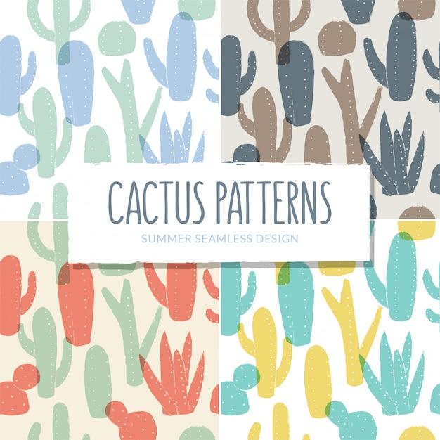 Nahtlose kaktusmuster-sammlung Premium Vektoren