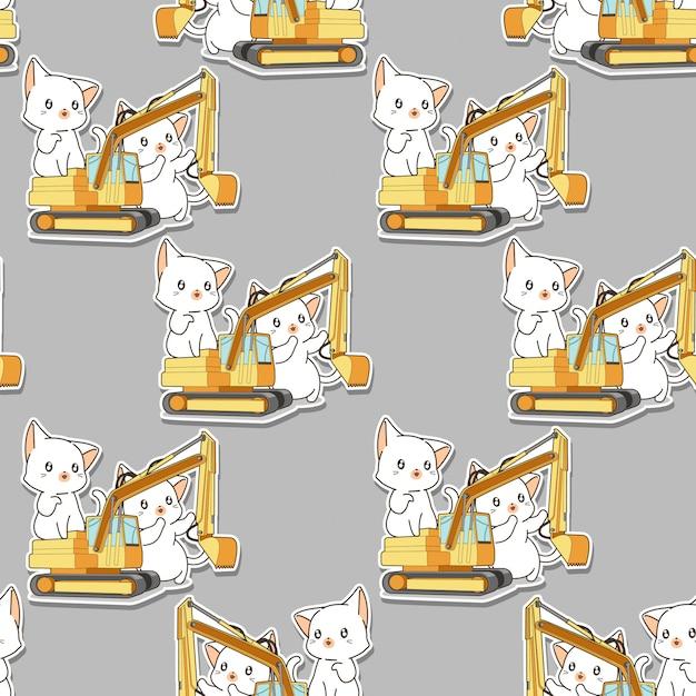 Nahtlose kawaii weiße katzen und das traktormuster Premium Vektoren