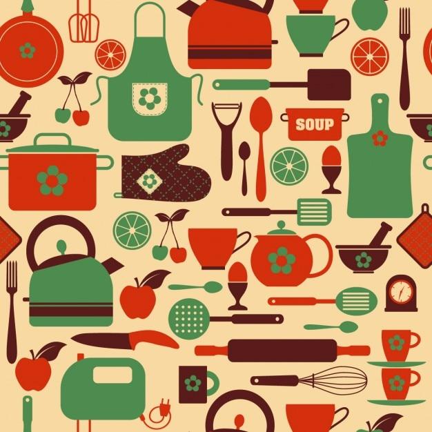 Nahtlose küche muster Kostenlosen Vektoren