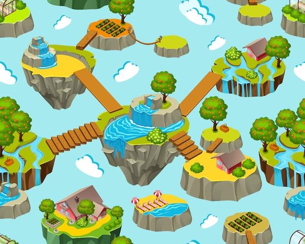 Nahtlose landschaft von isometrischen inseln für spiele Premium Vektoren