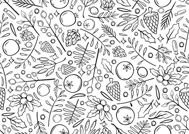 Nahtlose monochrome linie handzeichnung weihnachtshintergrund weihnachtszeit illustration grußkarten vorlage mit blumen und blütenblättern in weißem hintergrund Premium Vektoren