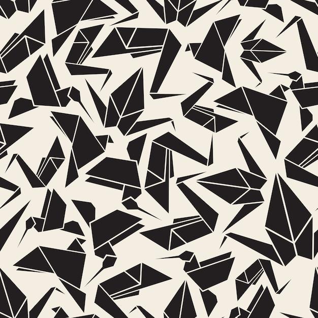 Nahtlose monochrome origami vogel muster hintergrund Premium Vektoren