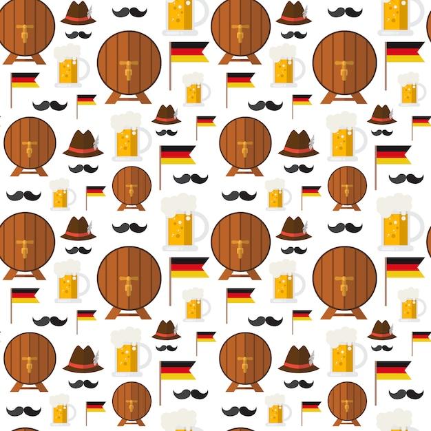 Nahtlose muster-bierfässer und becher für oktoberfest-festivalthema Premium Vektoren