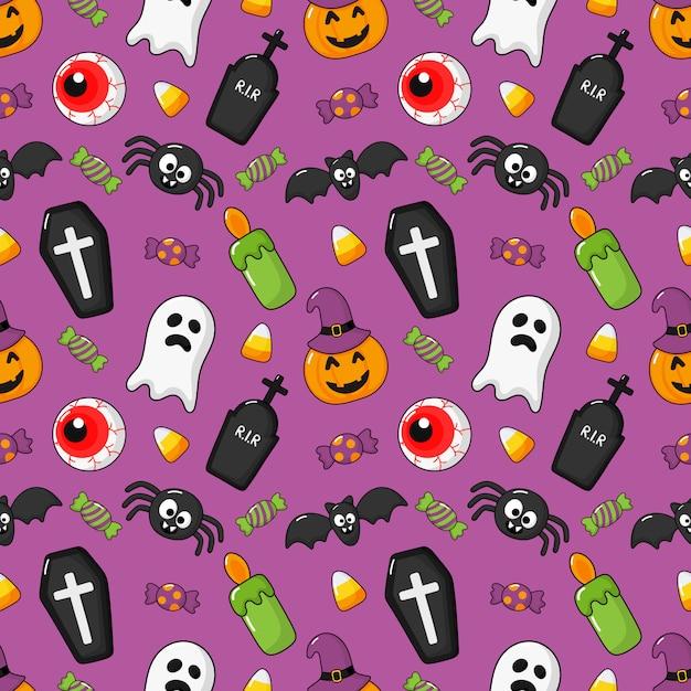 Nahtlose muster glücklich halloween icons isoliert auf lila. Premium Vektoren