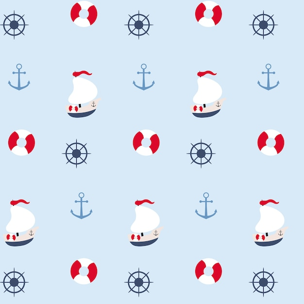 Nahtlose muster im marinen stil Kostenlosen Vektoren