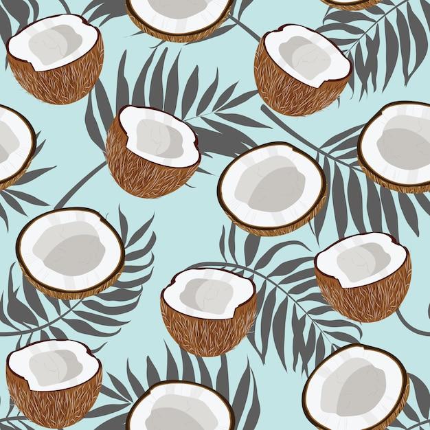 Nahtlose muster kokosnuss und palmblätter Premium Vektoren
