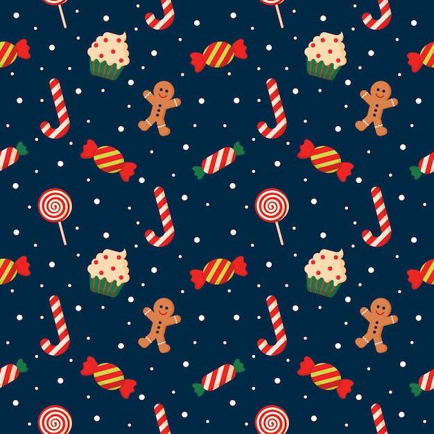 Nahtlose muster mit niedlichen cartoon christmas candy auf blauem hintergrund isoliert Premium Vektoren