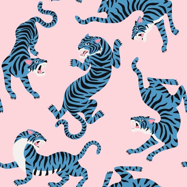 Nahtlose muster mit niedlichen tiger im hintergrund. Premium Vektoren