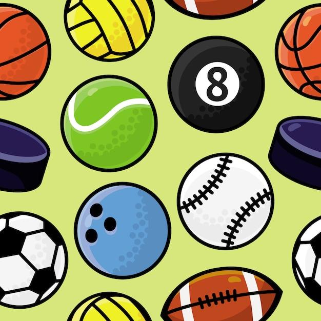 Nahtlose muster mit sportbällen Premium Vektoren
