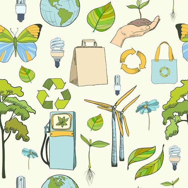 Nahtlose muster ökologie und umwelt Premium Vektoren