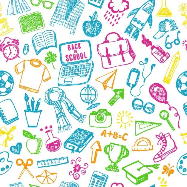 Nahtlose Muster Schule Zurück Zur Schule Illustration Sketch Set