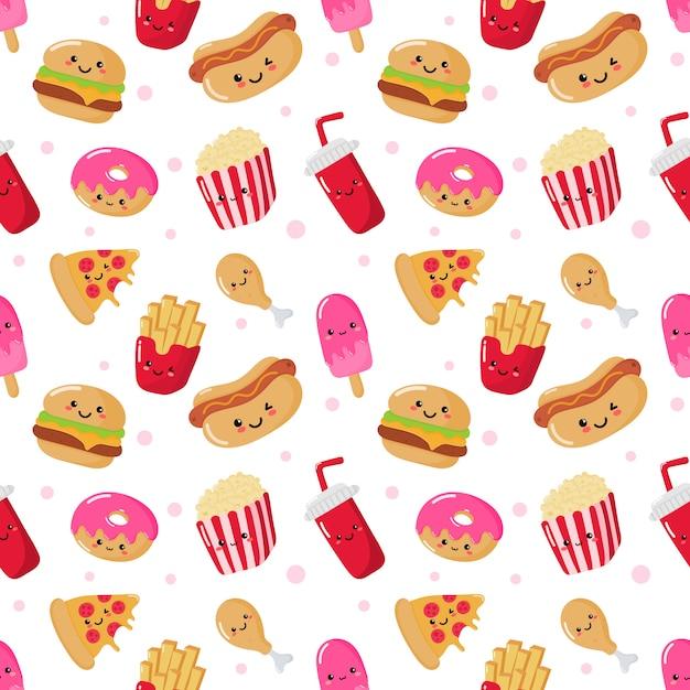 Nahtlose muster süß lustig fast-food-kawaii-stil Premium Vektoren