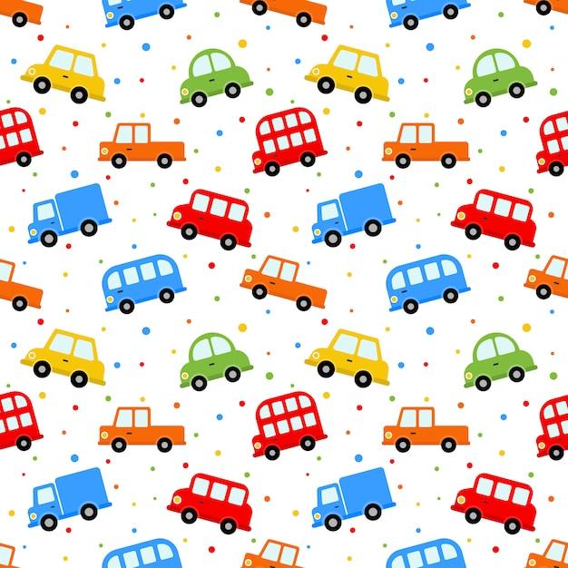 Nahtlose muster transport niedlichen auto Premium Vektoren