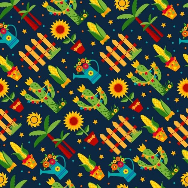 Nahtlose muster von festa junina dorffest in lateinamerika icons set in der hellen farbe flach artdekoration Kostenlosen Vektoren