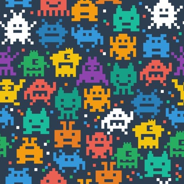 Nahtlose muster von fröhlichen und freundlichen pixel monster Kostenlosen Vektoren