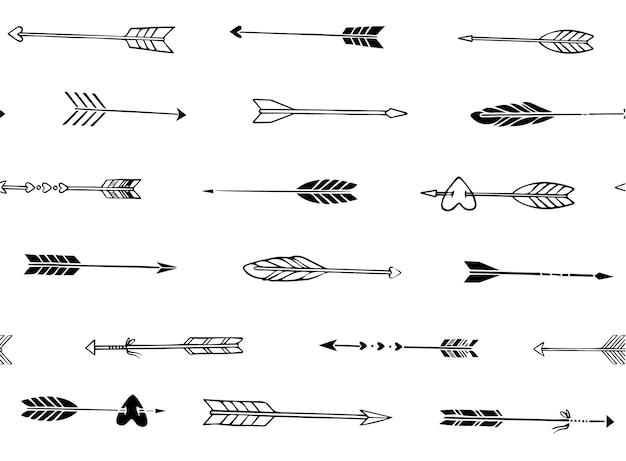 Nahtlose muster von hand gezeichneten pfeile in boho-stil Premium Vektoren