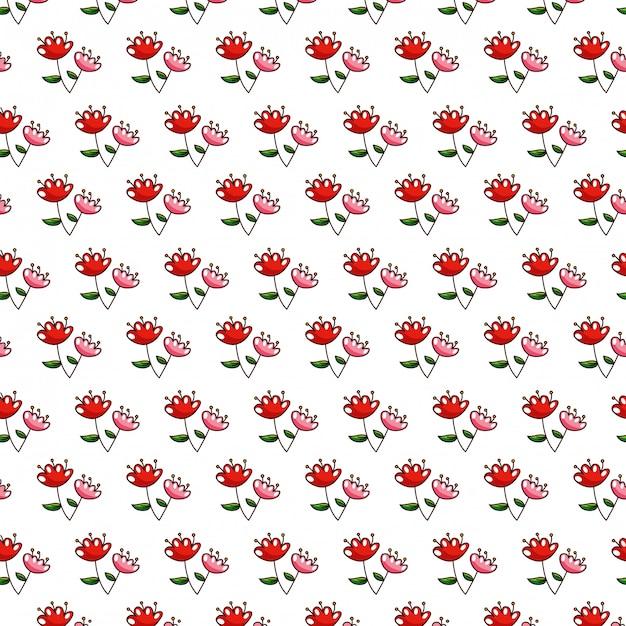 Nahtlose musterblumen mit blatthintergrund Premium Vektoren