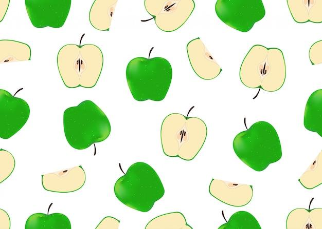 Nahtlose mustergrünäpfel auf weißem hintergrund Premium Vektoren