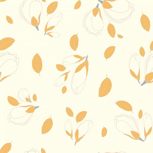 Nahtlose mustermagnolienblume Premium Vektoren