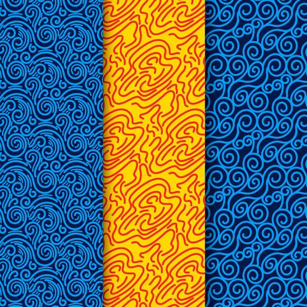 Nahtlose musterschablone der blauen und gelben linien Premium Vektoren
