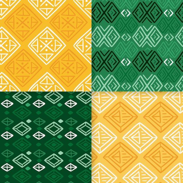 Nahtlose musterschablone des grünen und gelben songkets Premium Vektoren
