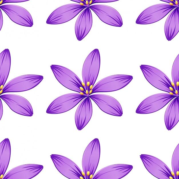 Nahtlose purpurrote blumen getrennt auf weiß Kostenlosen Vektoren