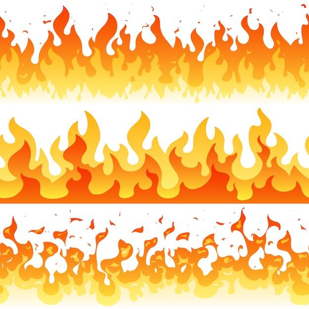 Nahtlose rahmengrenzen des karikaturfeuerflammen-vektors Premium Vektoren