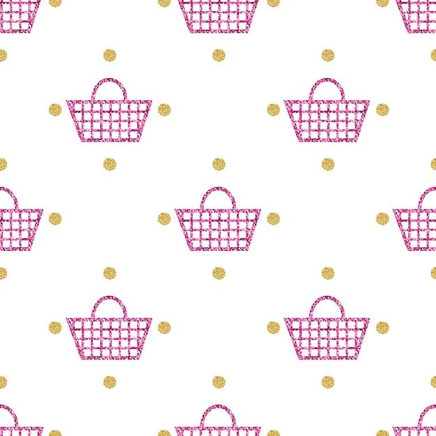 Nahtlose rosa glitter korb mit gold dot glitter muster hintergrund ...