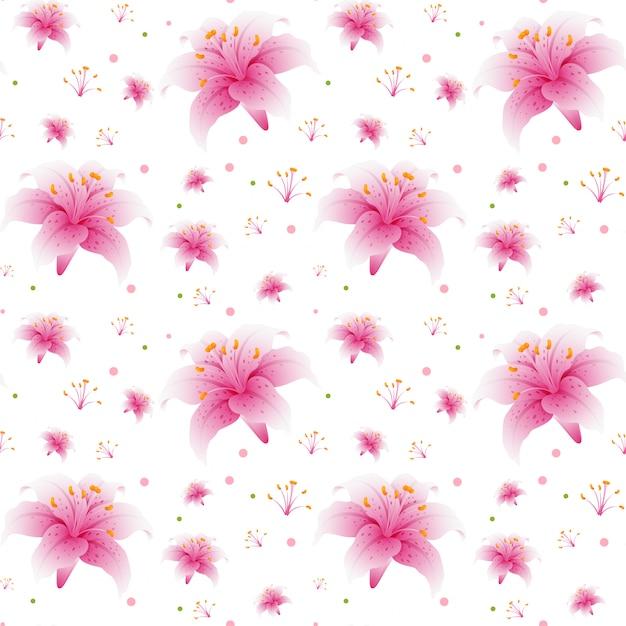 Nahtlose rosa lilientapete Kostenlosen Vektoren