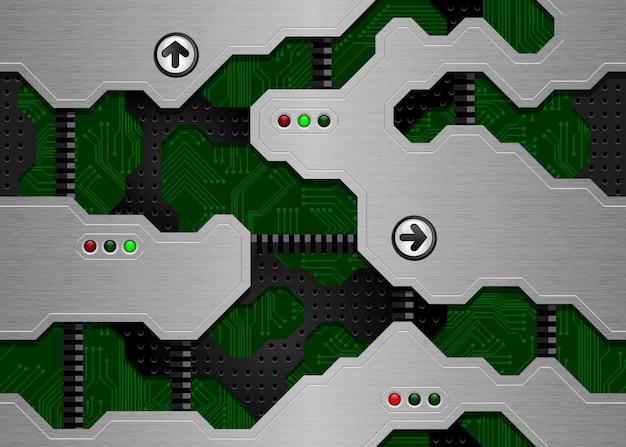 Nahtlose technobeschaffenheit. grüne leiterplatte und gebürstete metalloberfläche Premium Vektoren