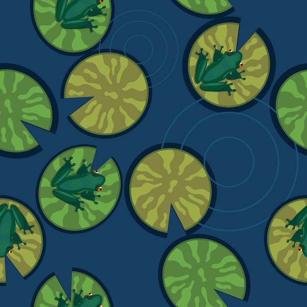 Nahtlose textur von fröschen auf seerosenblättern auf einem teich. Premium Vektoren