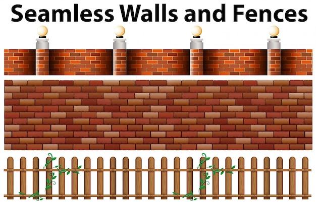 Nahtlose wände und zäune design Kostenlosen Vektoren