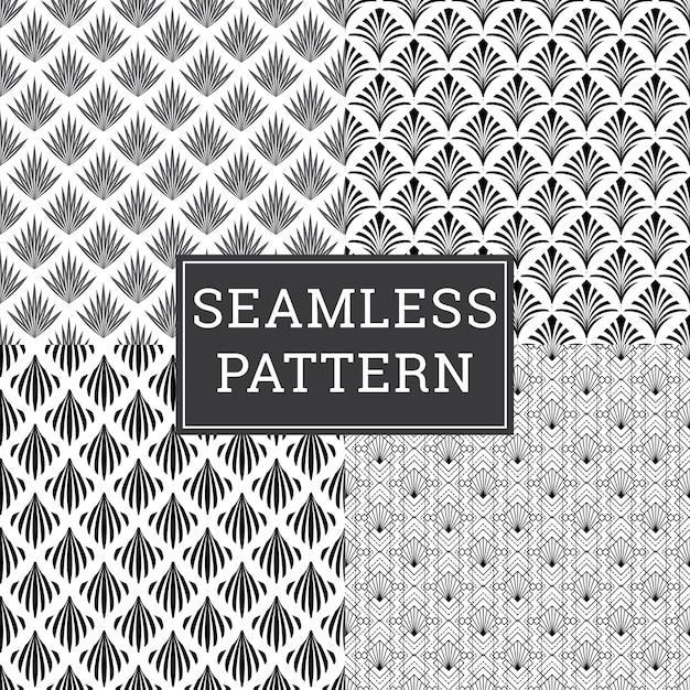 Nahtloser art deco pattern texture dekorativer hintergrundsatz. Premium Vektoren