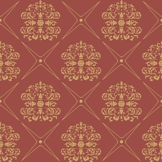Nahtloser barockstil des weinlesemusters. blumentapete textil, Kostenlosen Vektoren