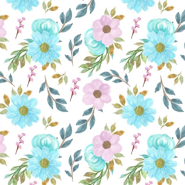 Nahtloser blumenhintergrund mit herrlichen blauen und lila blumen Premium Vektoren
