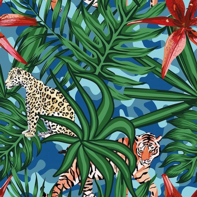 Nahtloser camo hintergrund der tropischen blattlilie des tigerleoparden Premium Vektoren