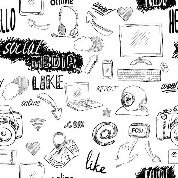 Nahtloser gekritzelblog-social media-anwendungsmusterhintergrund Kostenlosen Vektoren