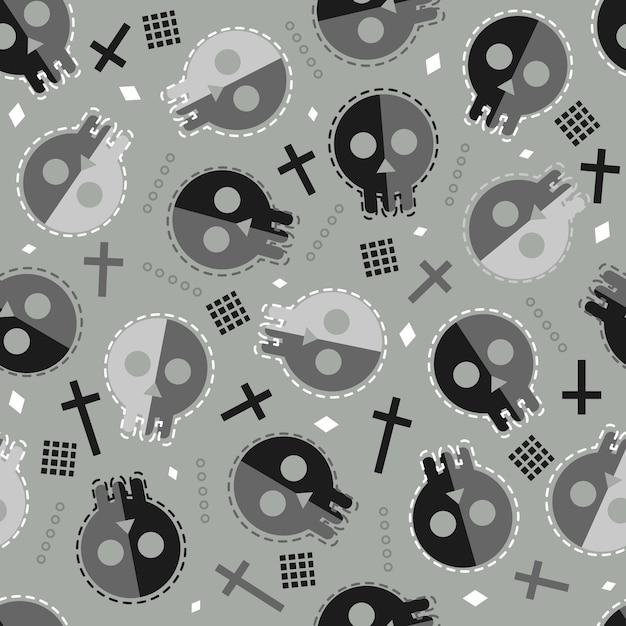 Nahtloser halloween-musterhintergrund mit gekritzelschädel Premium Vektoren