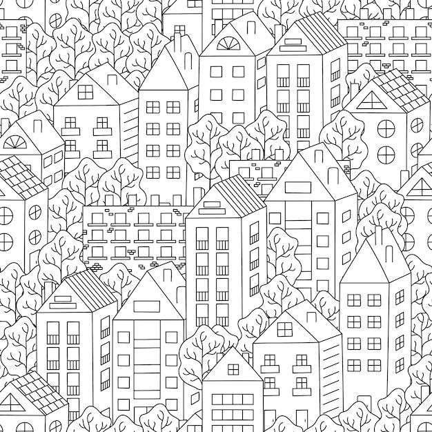 Nahtloser hintergrund der reihenhäuser und der bäume Premium Vektoren
