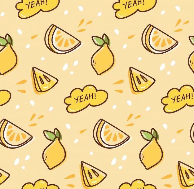 Nahtloser hintergrund der zitronenfrucht in der kawaii art Premium Vektoren